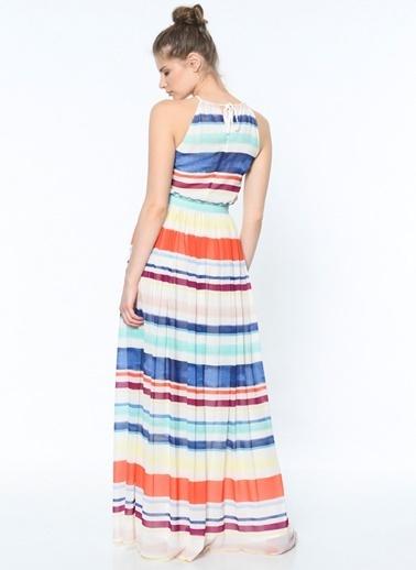 Uzun Çizgili Pileli Elbise-Tommy Hilfiger